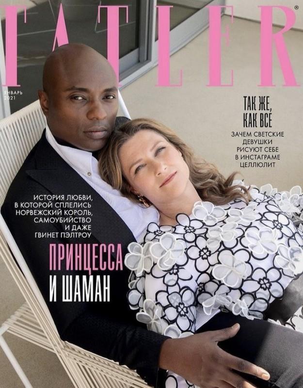 Вышел новый номер русского издания журнала Tatler с принцессой Норвегии Мартой Луизой и ее возлюбленным шаманом Дуреком на обложке