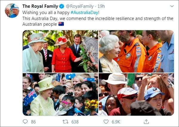 Британская королевская семья поздравила с национальным праздником австралийцев