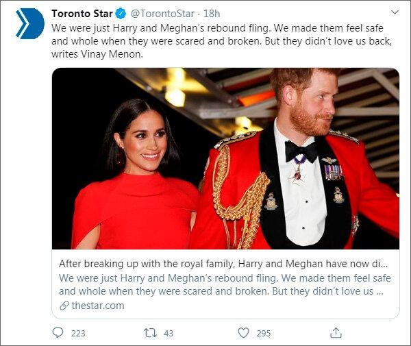 Toronto Star опубликовала лирическую авторскую колонку, посвященную «расставанию Гарри и Меган с Канадой»